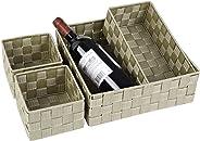 Posprica Woven Storage Box Cube Basket Bin Container Tote Organizer Divider for Drawer,Closet,Shelf, Dresser