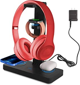 Wireless Charger with Headphone Stand Headset Holder Suitable for All Headphones, 4 in 1 Fast Charging Station Dock for Apple Watch 6/5/4/3/2, AirPods Pro/2, iPhone 12/12 Pro Max/11/XR/XS/X/8