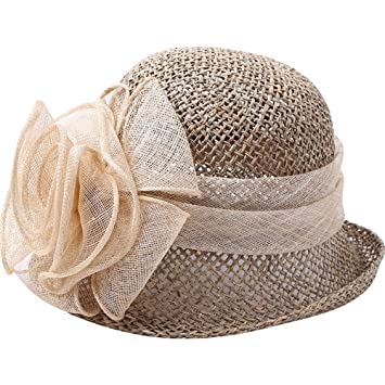 Sombrero ZHIRONG Hilo Flores Paja Playa para Mujeres al Aire Libre Gorra de protección Solar de