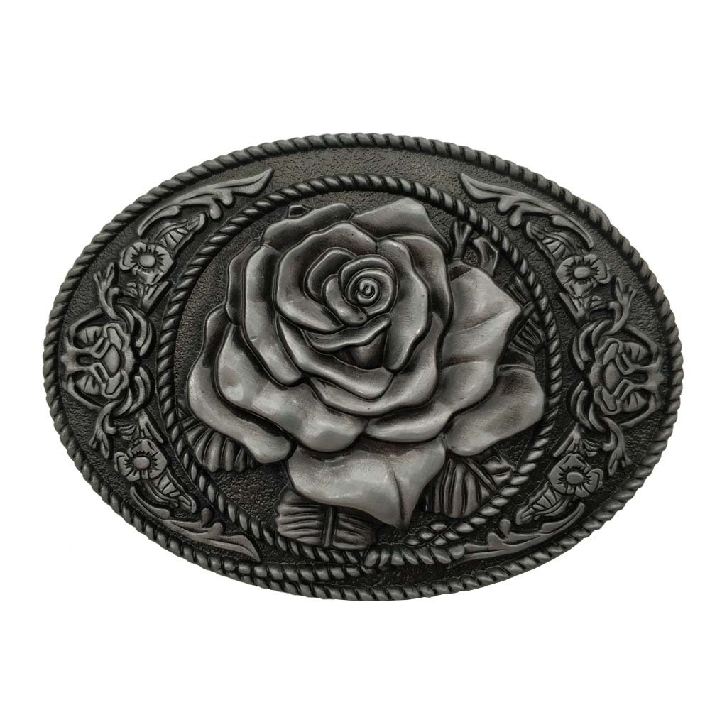 Oval Flower Rose Belt Buckle Cowgirl Rodeo Floral Buckles Grey