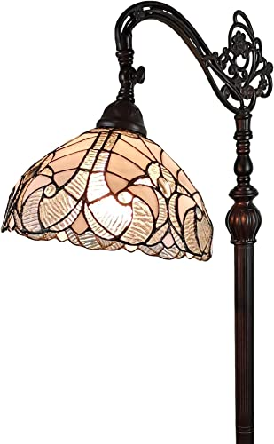 Amora Lighting Tiffany Style Floor Lamp Arched 62″ Tall Stained Glass White Mahogany Antique Vintage Light Decor Bedroom Living Room Reading Gift AM262FL11B