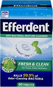 Efferdent Plus Mint Anti-Bacterial Denture Cleanser | 90 Tablets