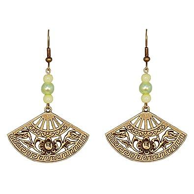 Verte Eventail Et Créative D'oreilles Perles Perle Boucles Bronze CxdroBe