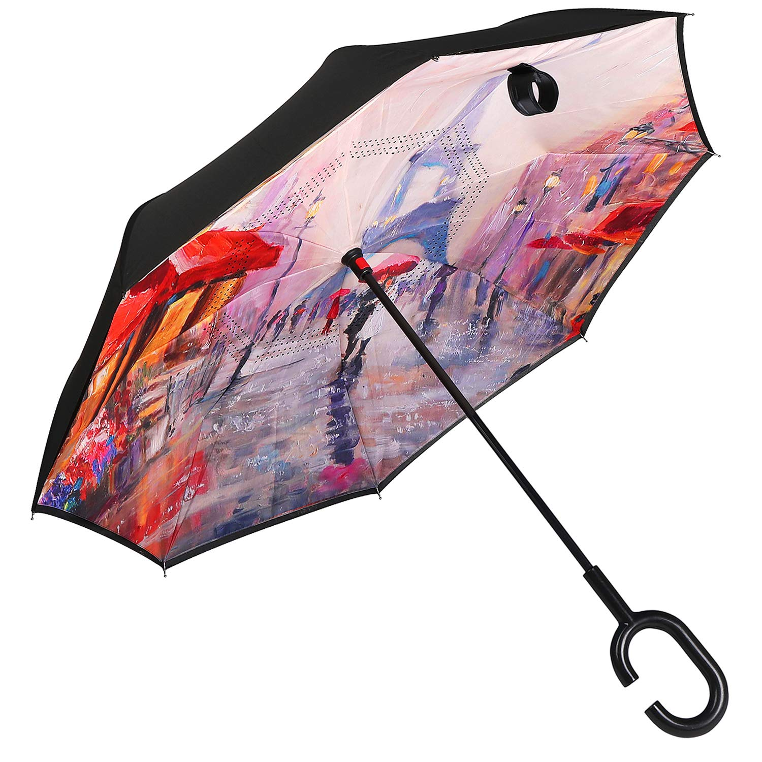 Owen Kyne Windproof Double Layer Folding Inverted Umbrella, Self Stand Upside-Down Rain Protection Car Reverse Umbrellas with C-Shaped Handle (Rain Tower) by Owen Kyne