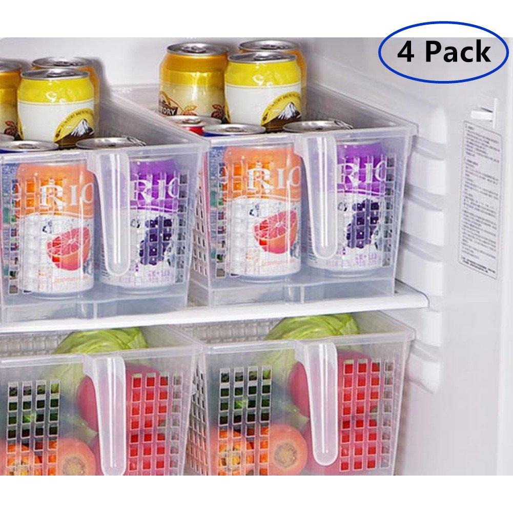 MineDecor Handle Kitchen Organizer Basket Set Food Storage Containers Large Organization for Refrigerator Fridge Shelf Cabinet Desk (Set of 4 Organizers)