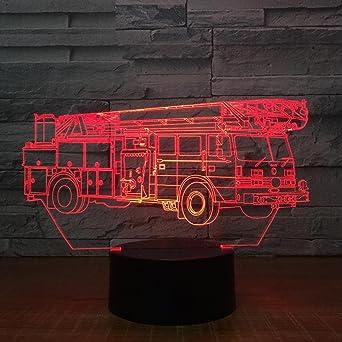 Fissen 3d La Voiture De Pompier Led Lampe D Illusion Optique Lampe