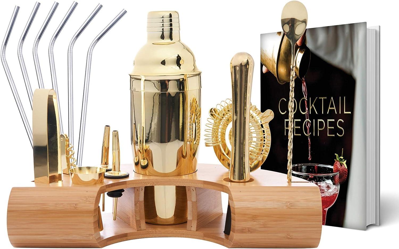 Mixology Bartender Kit 10-Piece Gold Bar Set Cocktail Shaker Set with Stylish