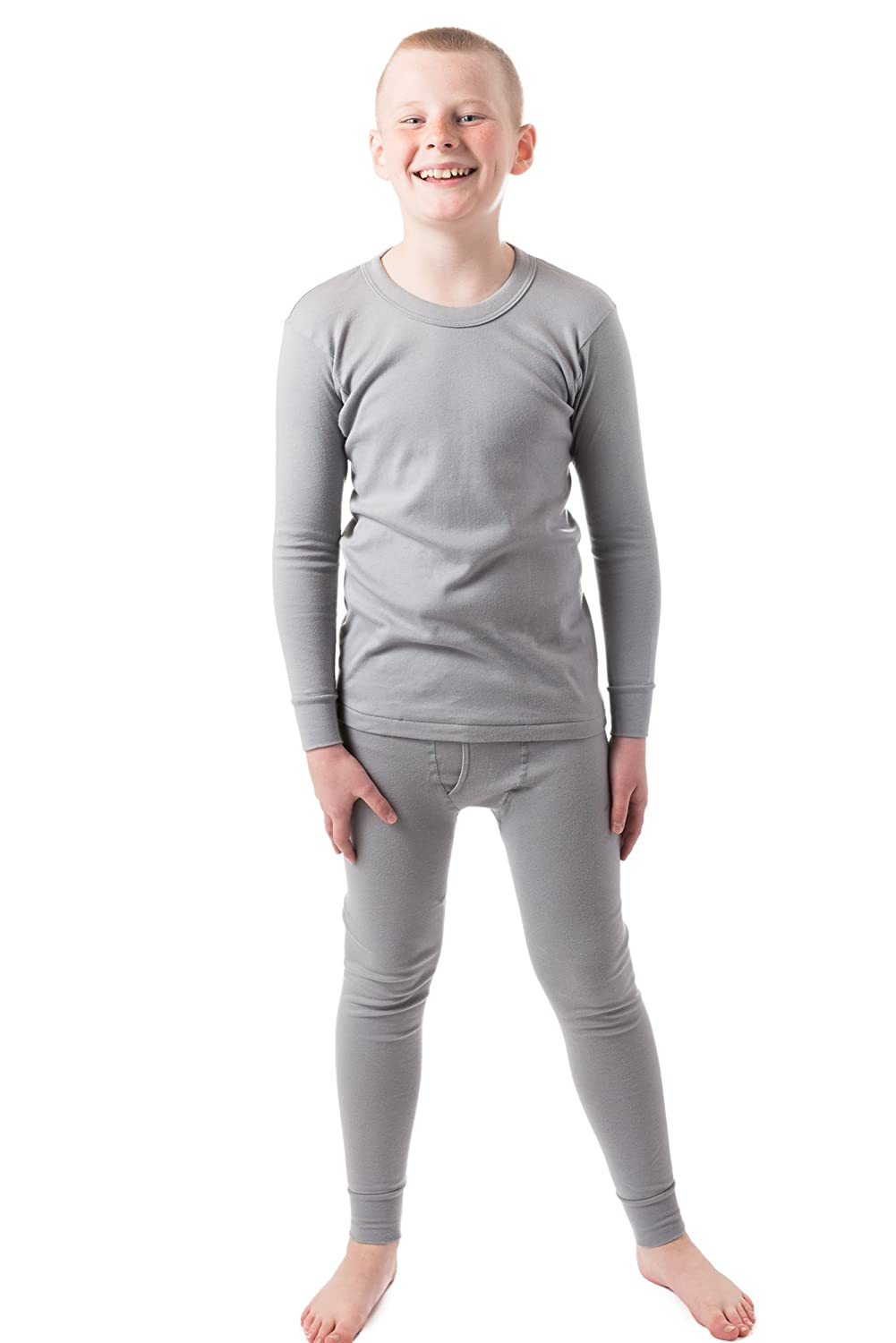 Sheerly Touch-Ya Boy's Round Neck Long Sleeve Top & Bottom 100% Cotton Thermal Underwar