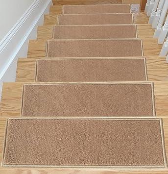 Ottomanson Skid Resistant Rubber Backing Non Slip Carpet Stair  Treads Machine Washable Area