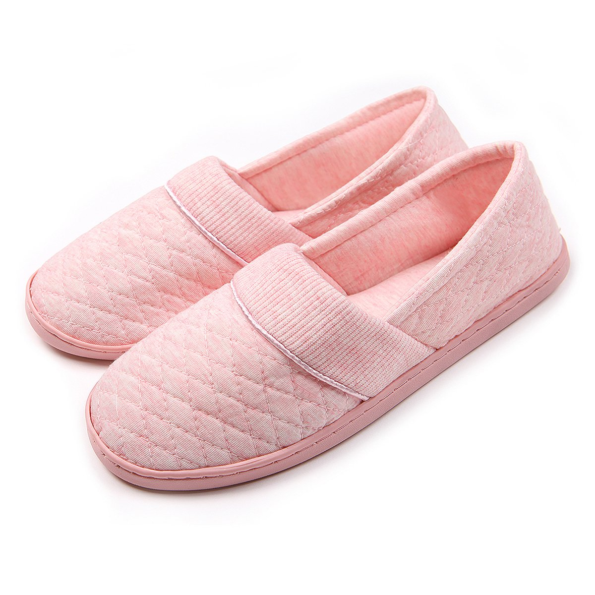 ChicNChic Women Comfort Cotton Soft Sole Indoor Slippers Anti-Slip House Shoes Pink 8 B(M) US