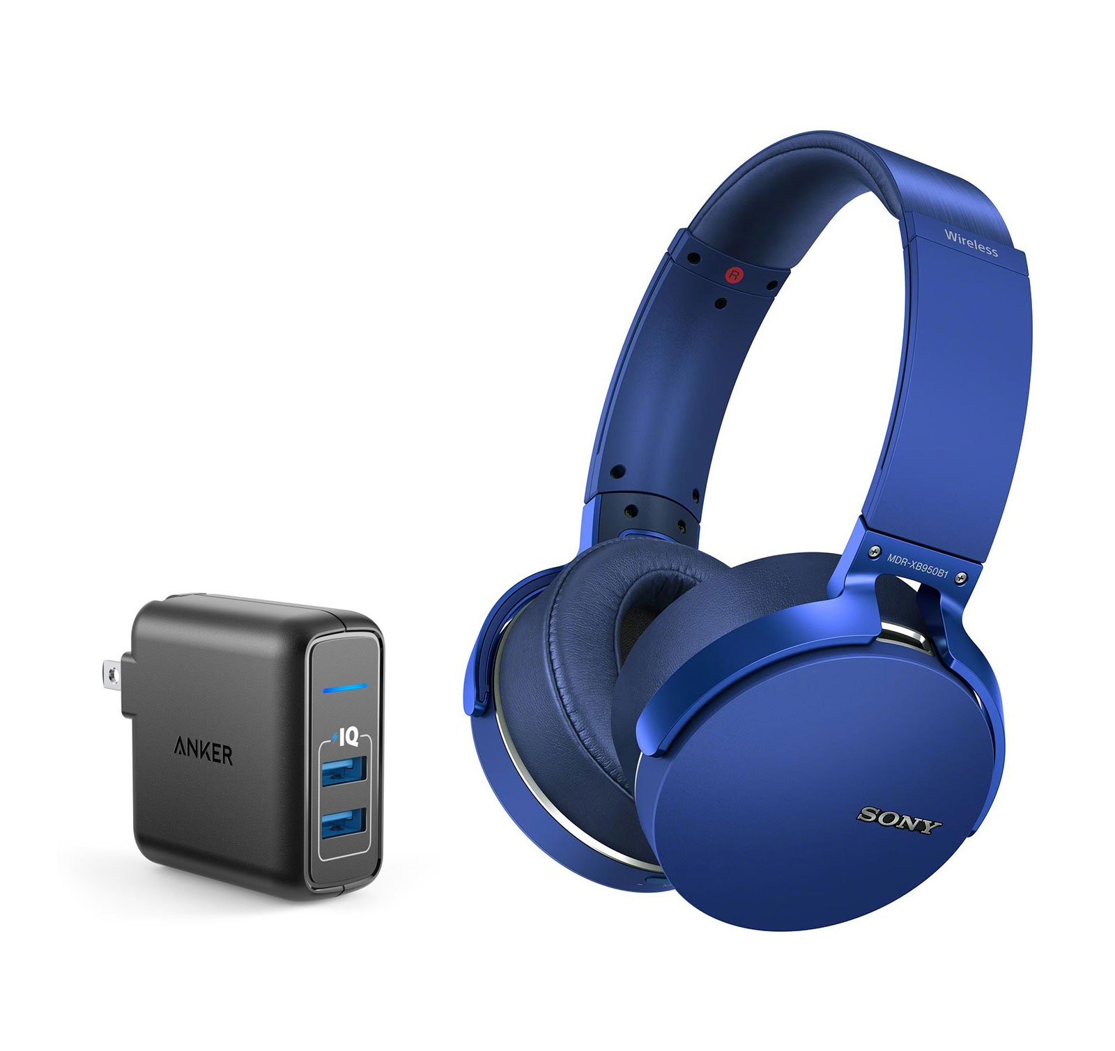 Sony MDRXB950B1/L Over-ear Bluetooth Headphone Bundle with Dual Port 24W USB Travel Wall Charger - Blue