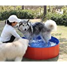 Fuloon PVC Pet Swimming Pool Portable Foldable Pool Dogs Cats Bathing Tub Bathtub Wash Tub Water Pond Pool & Kiddie Pools for Kids in The Garden,