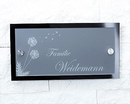 Namensschild / Hausnummer mit Gravur aus Acrylglas 23x12cm ...