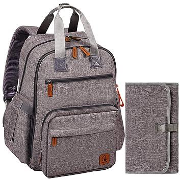 Bolsas de maternidad grandes para pa/ñales bolsa de viaje para beb/és impermeable y multifunci/ón para mam/á,pap/á Mochila para pa/ñales hombres y mujeres Duradera y elegante gris