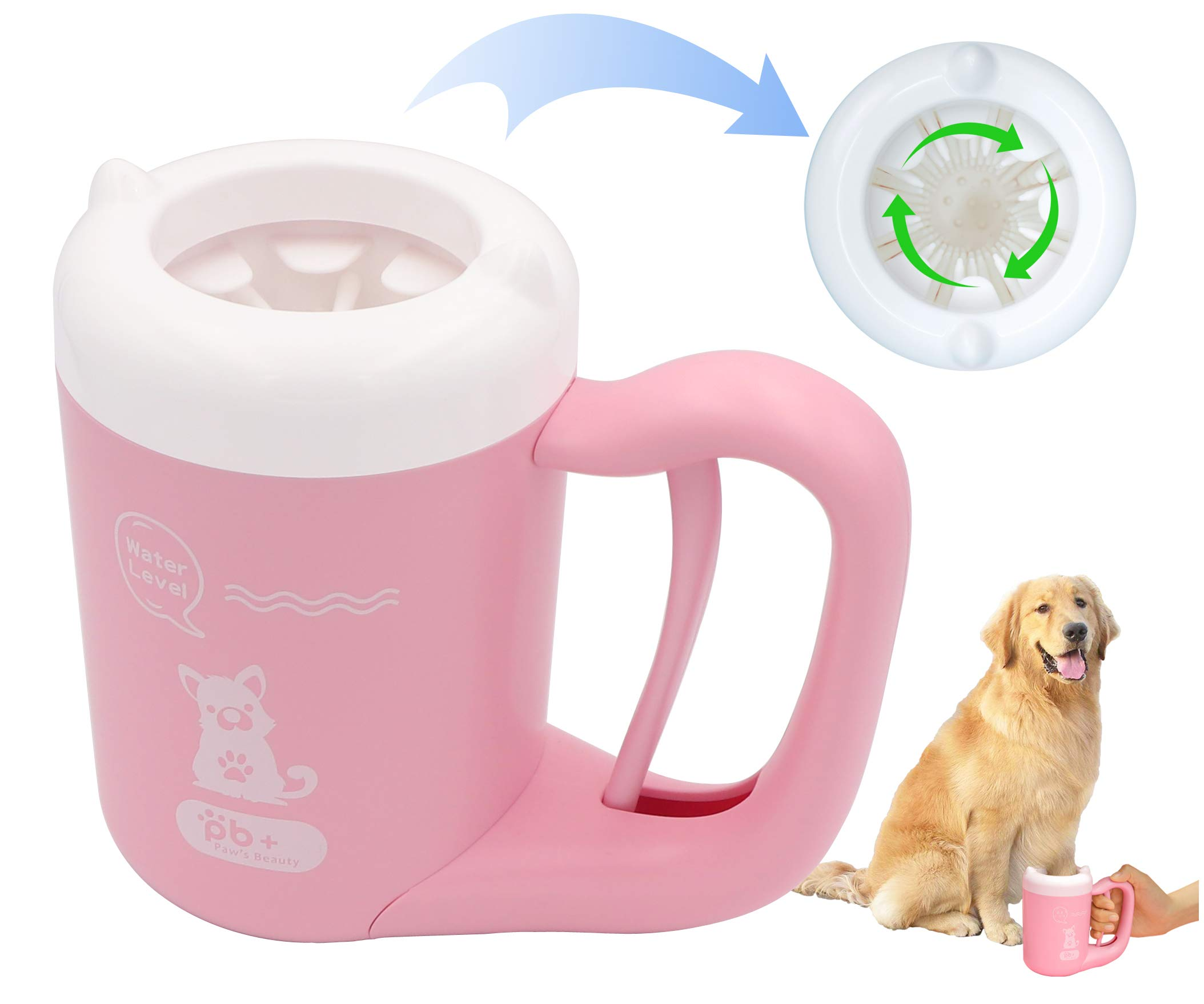 SenYiHo Rotatable Paw Cleaner for Pets Paw Washer Cup for Dog and Cat Puppy Dirty Muddy Feet Cleaner Rotatable Soft Silicone Brush Comfortable and Convenient No More Paw Prints(S Pink)