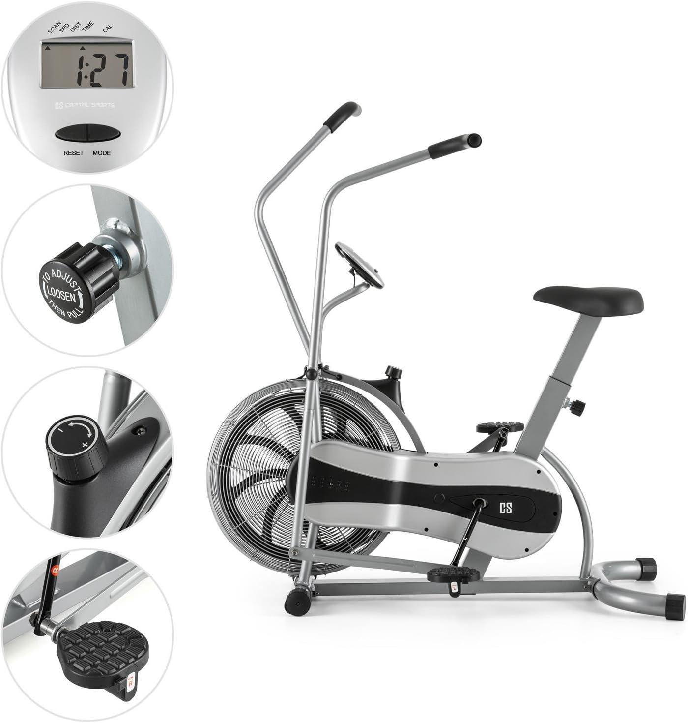 CAPITAL SPORTS Stormstrike 2k Bicicleta el/íptica erg/ómetro Resistencia regulaci/ón cont/ínua, entrenamiento brazos y piernas, monitor integrado, altura regulable, hasta 120 kg negra azul