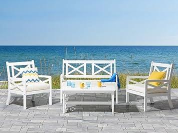 Gartenmöbel Set Holz Weiß ~ Beliani gartenmöbel set holz weiss sitzer kissen beige baltic