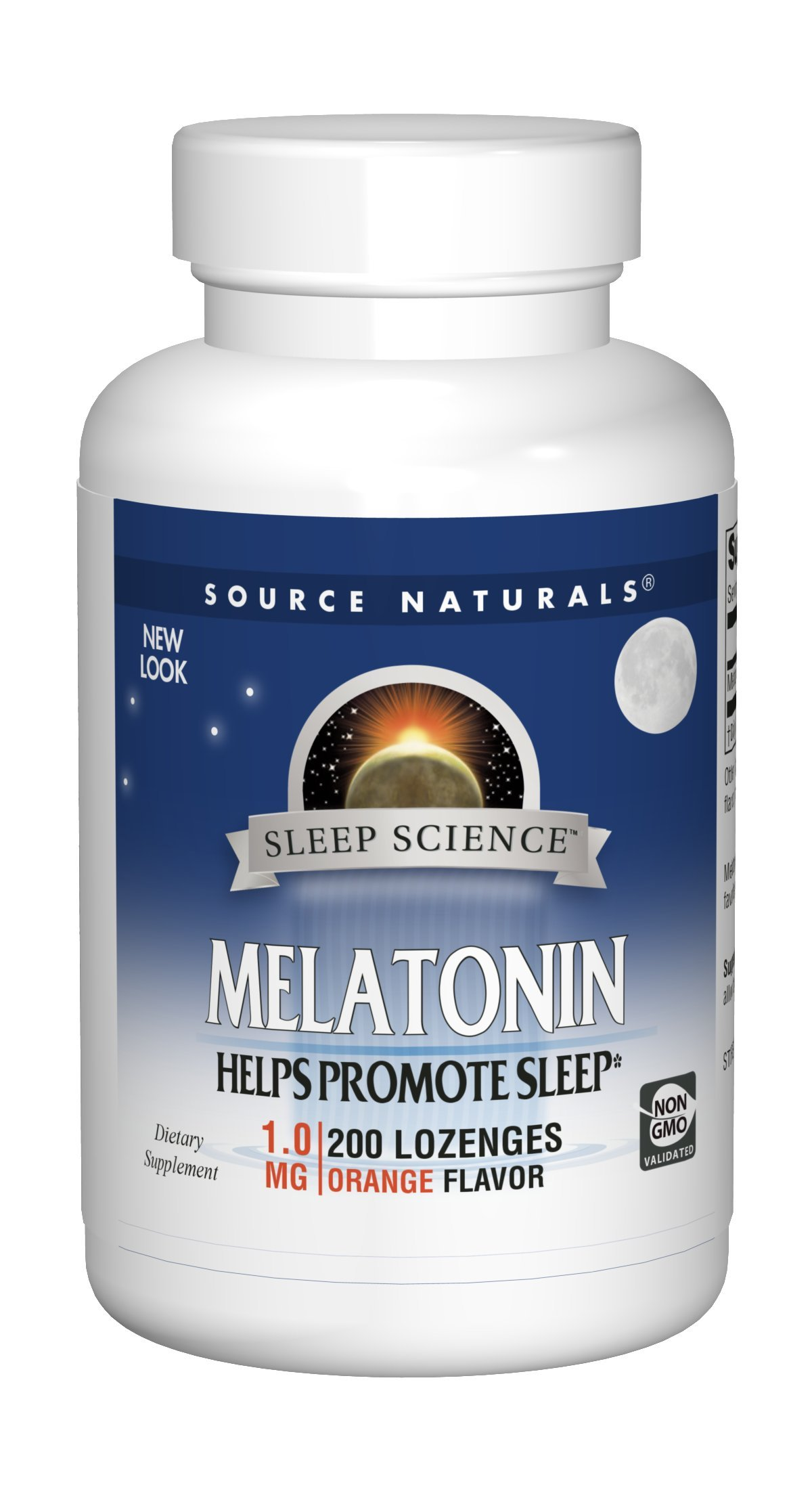 Source Naturals Melatonin 1mg, Orange, for Occasional Sleeplessness, 200 Sublingual Tablets