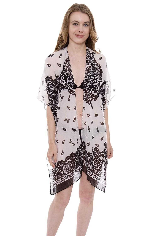 638b7f6b4c Women's Floral Kimono Cardigan Lightweight Beachwear Swimwear Cover Ups  Sheer Blouse Loose Tops (Beige / 1396) at Amazon Women's Clothing store: