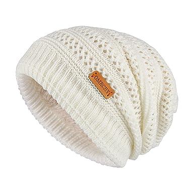49217b7a06a53c OMECHY Unisex Slouchy Beanie Hats Winter Warm Knit Skull Fleece Ski Cap 4  Color - White -: Amazon.co.uk: Clothing