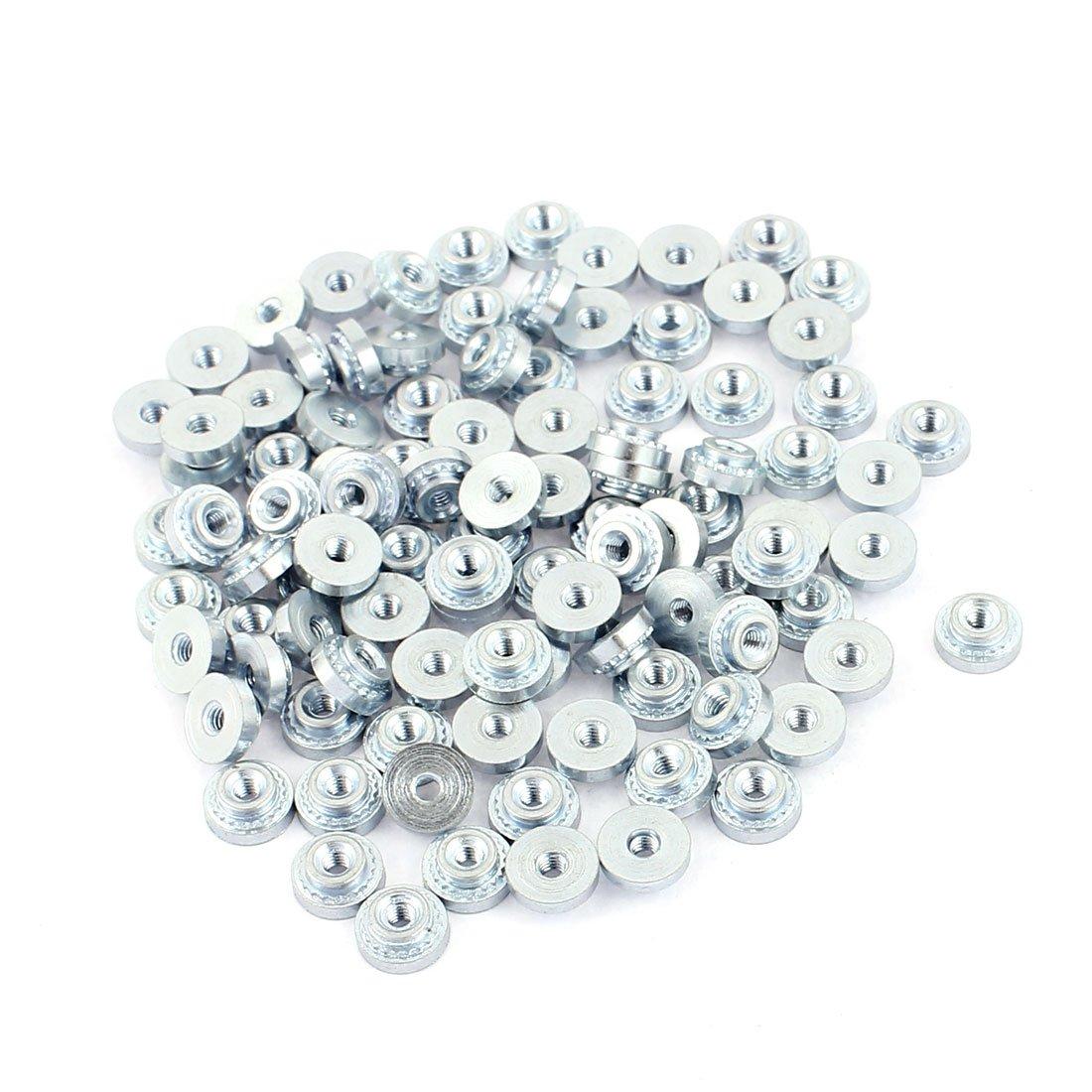 sourcingmap/® 100St/ück M4-0 R/ändelmetall Selbst Clinchen Einpressmutter 0,8mm dick d/ünn Platte de