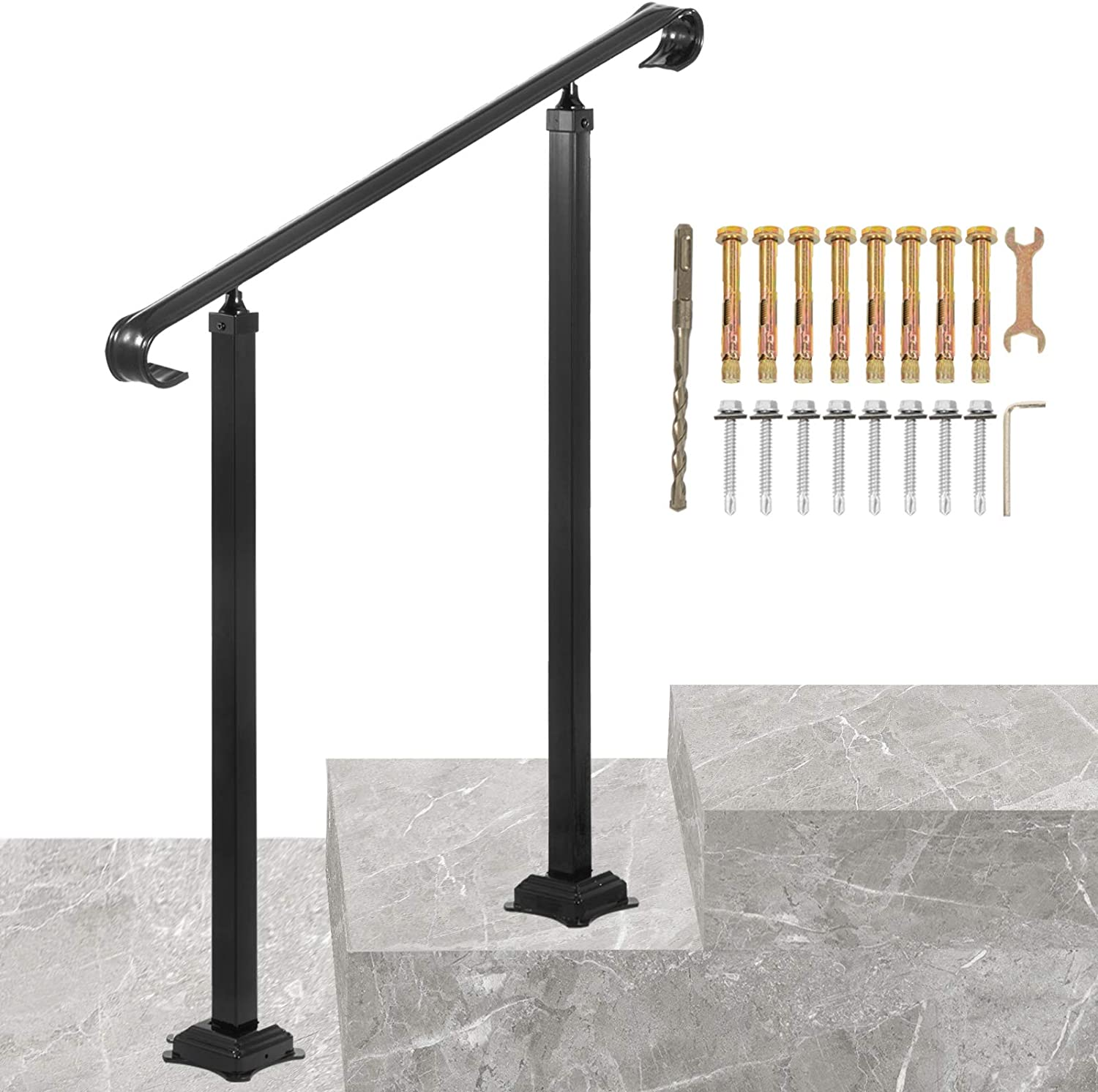 VEVOR Fit 1 or 2 Steps Wrought Iron Handrail,Outdoor Stair Railing, Adjustable Front Porch Hand Rail, Black Transitional Hand railings for Concrete Steps or Wooden Stairs with Installation Kit
