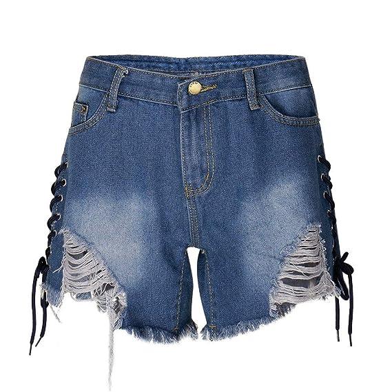 FELZ Pantalones Cortos de Mezclilla para Mujer Pantalones Cortos ...