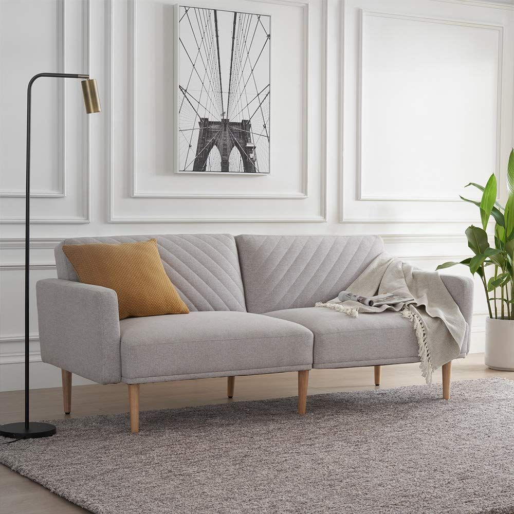 Mopio Chloe Convertible Futon Couch Bed, Fabric Tufted Modern Sofa Sleeper with Tapered Wood Legs, 69'' W, Light Gray by AsianiCandy