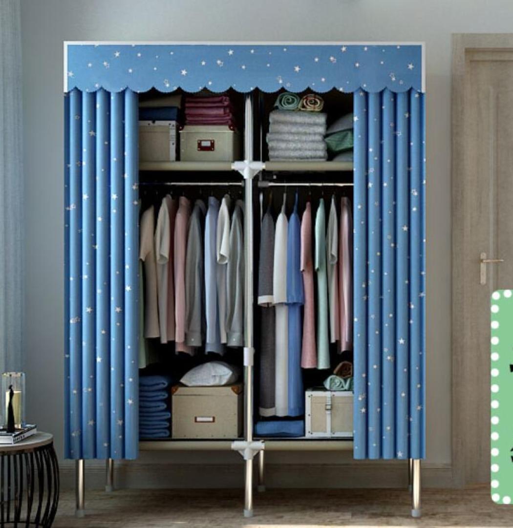GY&H Armoire pliante petit placard d'assemblage de tissu de tissu - dortoir de renfort en acier inoxydable -C -110*45*172cm