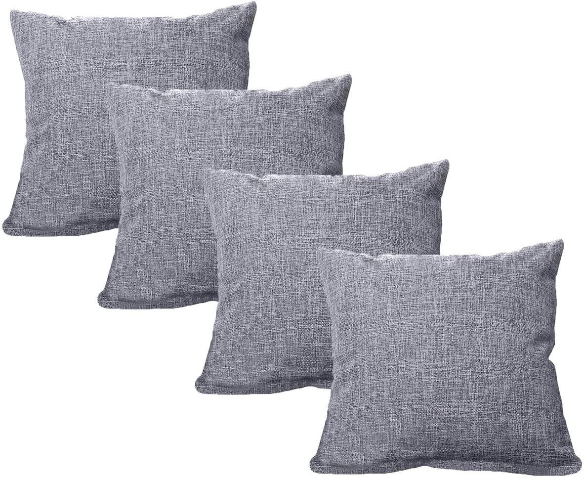 UNIAI 4 Pack Throw Pillow Cover 45X45cm Home Decorative Solid Square Pillowcase: Amazon.es: Hogar