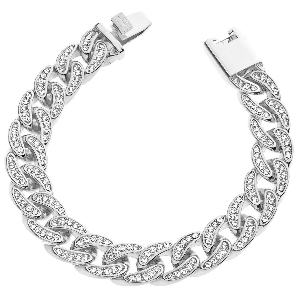 .iced-out. Curb Bracelet - Cuban CZ 15mm Silver