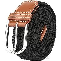 Cinturón elástico trenzado de calidad Mr con hebilla de cuero cubierta, cinturones de cincha de 106,7 cm, color azul y negro