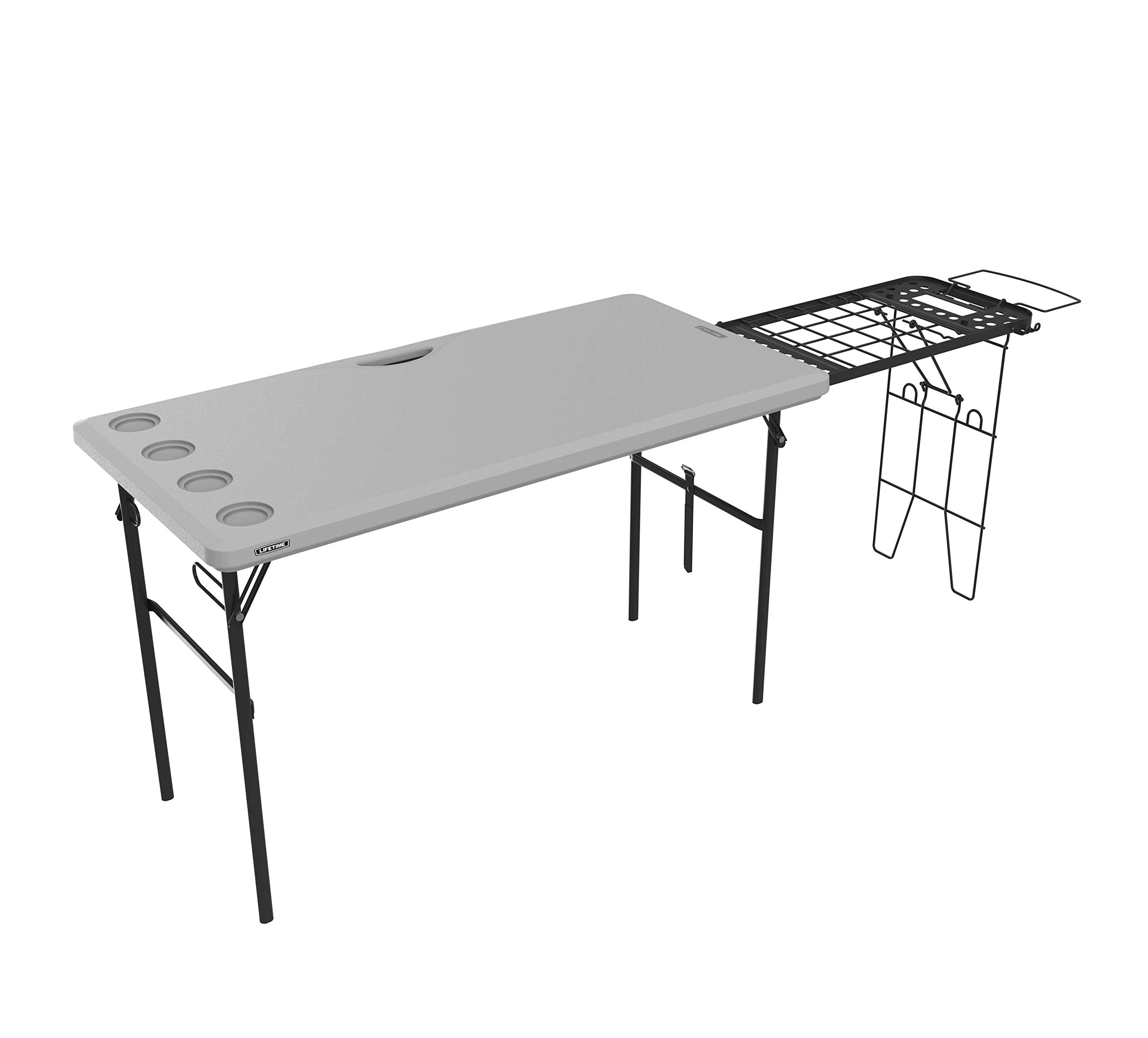 Lifetime 280813 Folding Tailgate Camp Table with Grill Rack, Gray by Lifetime