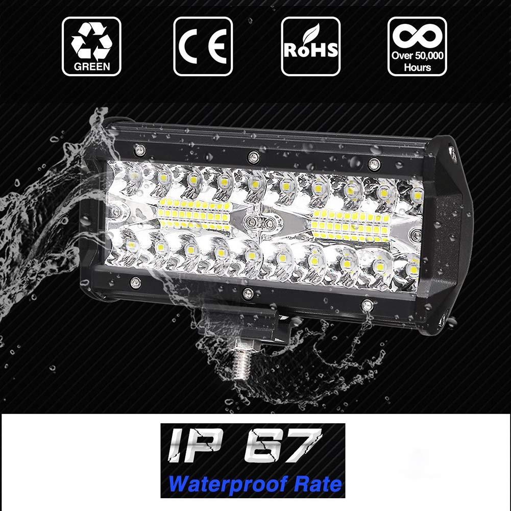 12000LM 6000K IP67 Barre de lumi/ère /à LED hors route pour feux de brouillard de conduite /étanches super lumineux LIUNIAN Barre de lumi/ère de travail /à LED 7 pouces 240W pour camion