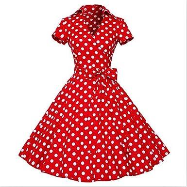 2fd443ecc49da Amazon.com  Woman Retro Dresses New 1950S 60S Rockabilly Polka Dot Bow  Pinup Ball Grown Party Robe Plus Size Vestidos  Clothing