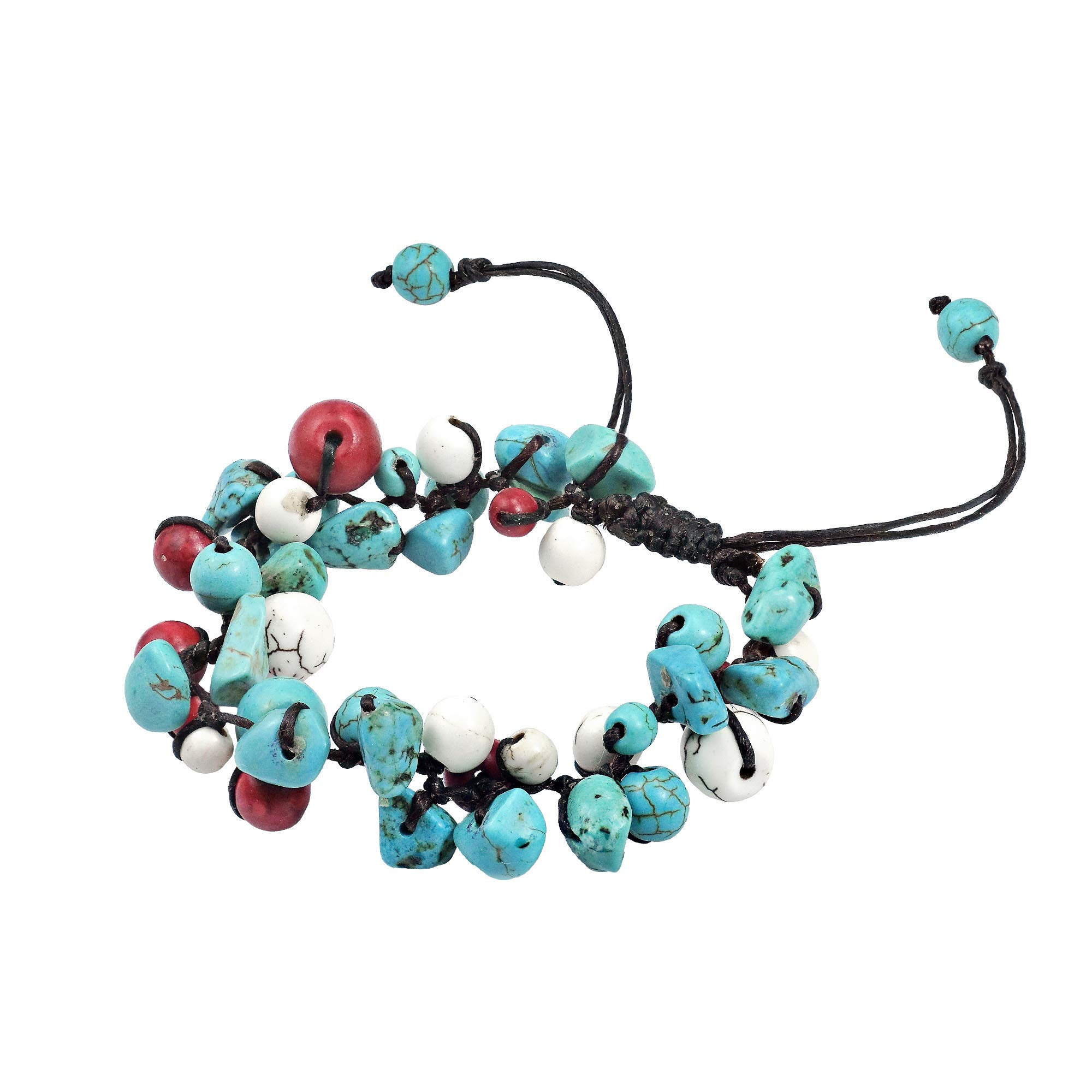 AeraVida Infinite Clusters Simulated Turquoise & Reconstructed Red Coral & Reconstructed White Howlite Adjustable Wrist Pull Bracelet