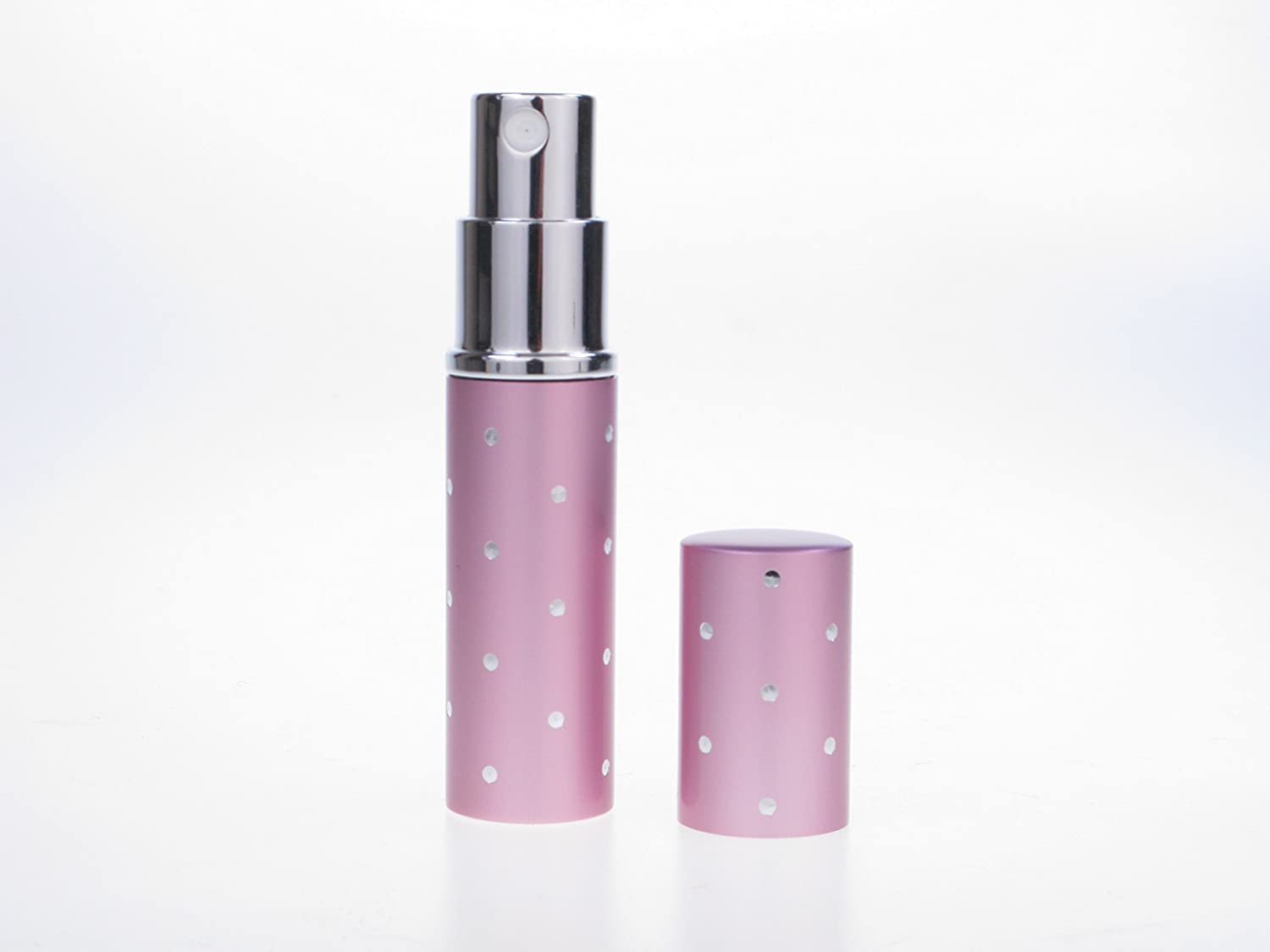 Gift Boxed 5ml Pink Silver Dot Perfume Travel Atomizer for Handbag. Refillable, includes Funnel