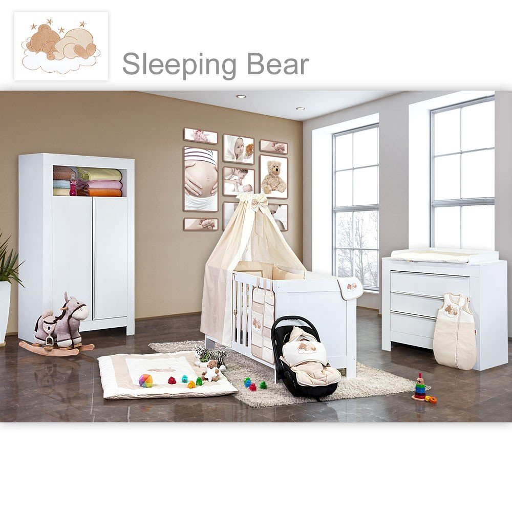 Babyzimmer Felix in weiss 21 tlg. mit 2 türigem Kl + Sleeping Bear in beige
