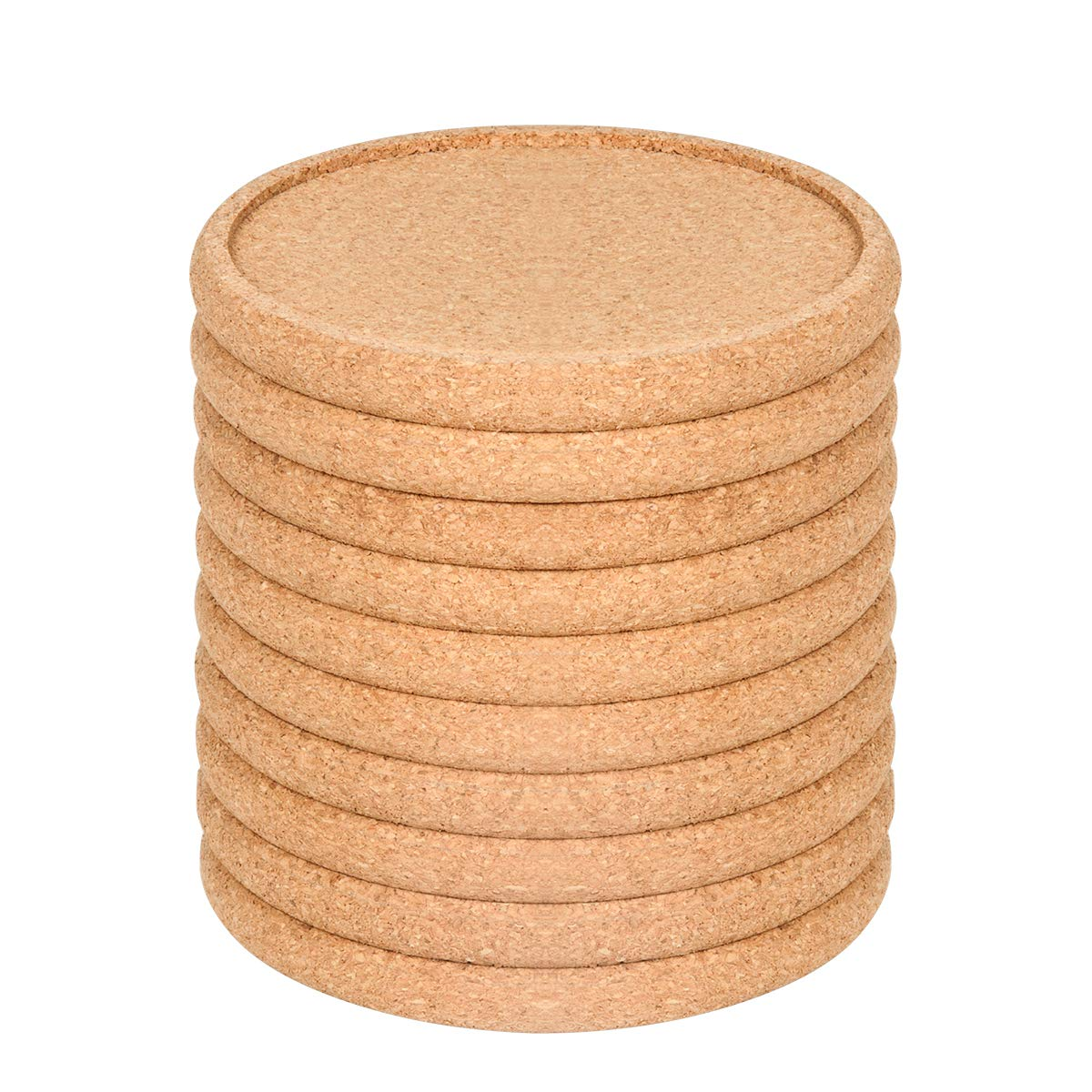 Cork Coasters For Drinks Absorbent Set 10 PCS, 3.9'' Diameter