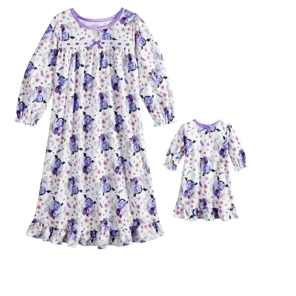 Disney Vampirina Toddler Girl Nightgown /& Doll Nightgown Pajama Set