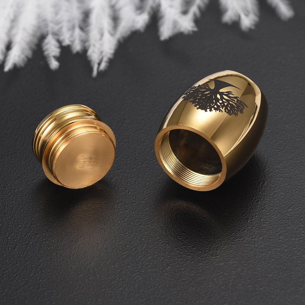memorial jewelry Creative Stainless Steel Cremation Urn Ash Holder Mini Keepsake Funeral Urns Life Tree Pattern