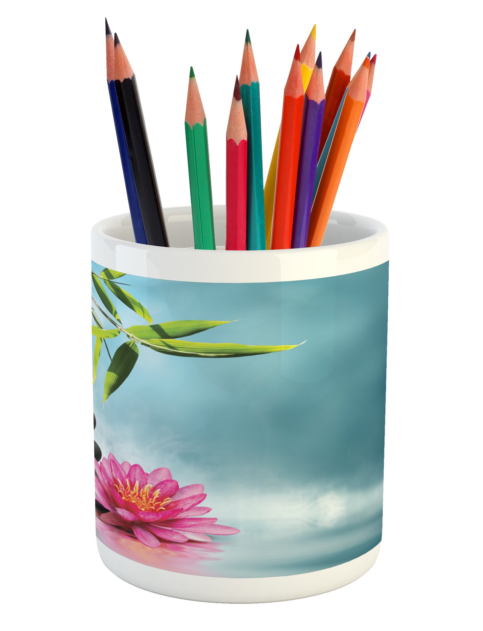 Ambesonne Spa Pencil Pen Holder, Spa Theme with Lily Lotus Flower and Rocks Yoga Style Purifying Your Soul Theme, Printed Ceramic Pencil Pen Holder for Desk Office Accessory, Blue Pink Green