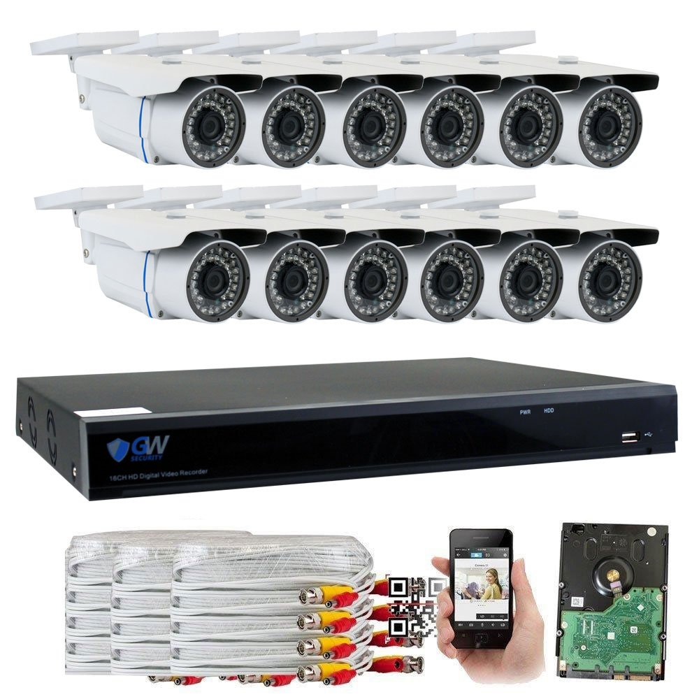GW Security 16 Channel CCTV 5MP 2.5X 1080P Security Surveillance DVR System with 12 x Super 5.0MP HD 1920p 2592TVL Weatherproof Security Cameras,110ft IR Night Vision,4TB HDD