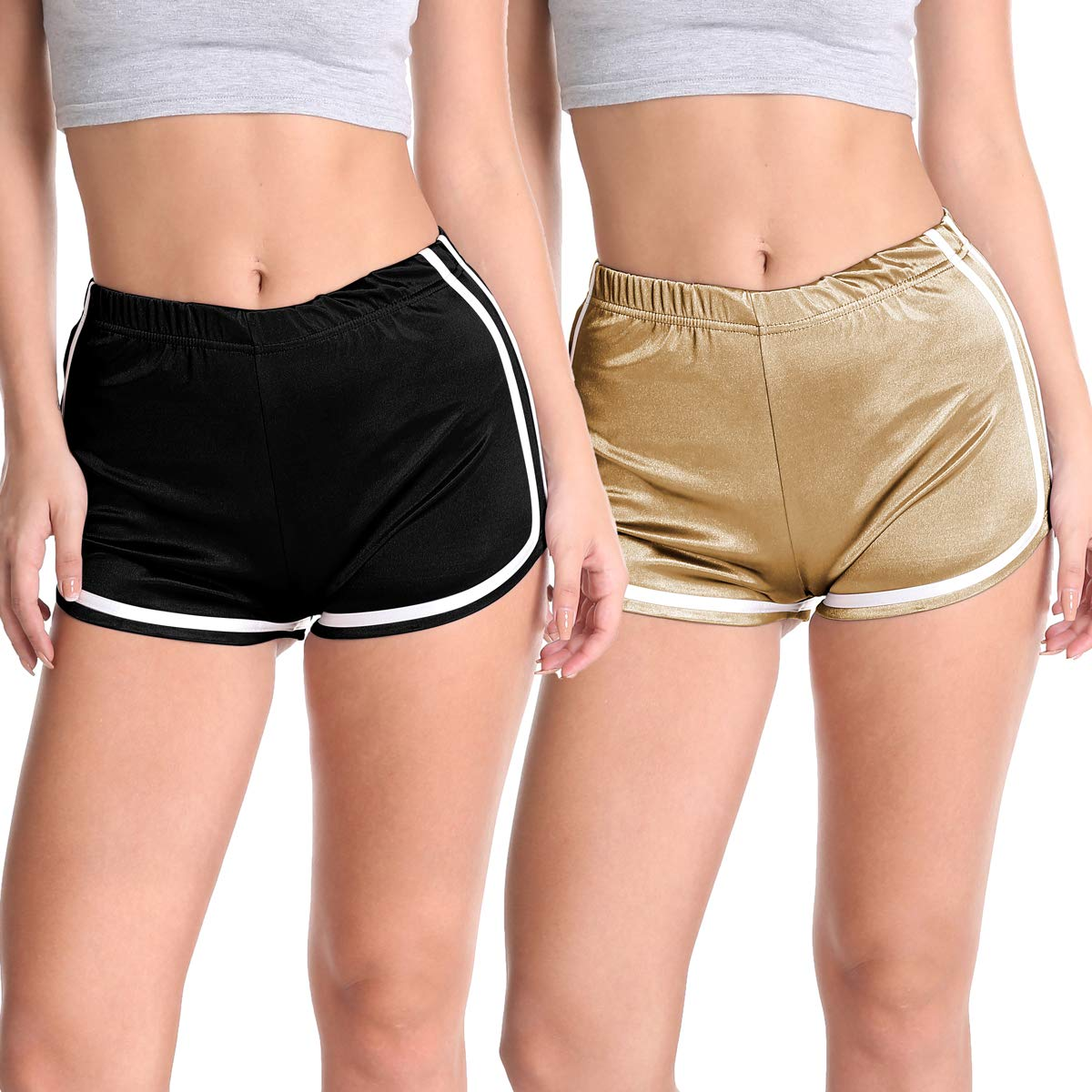 Velius Women's Shiny Workout Pants Sports Running Yoga Shorts
