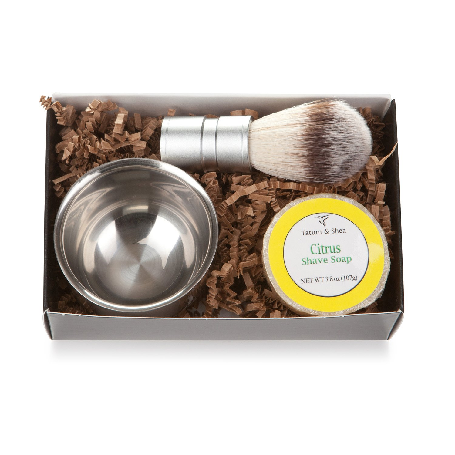 Men's Shaving Kit: 3-Piece Shaving Soap Gift Set with Ultra Rich Soap, Stainless Steel Shave Bowl & Easy-Grip Brush, Light Barber Shop Scent, Handsomely Gift Boxed by Tatum & Shea Grandy Goods