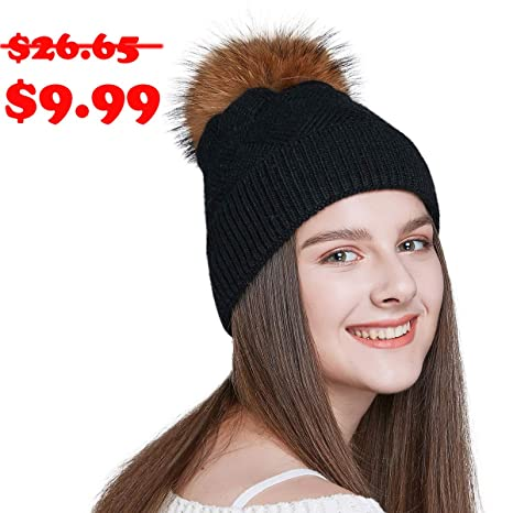 Amazon.com  TERYJAN Women s Winter Pom Pom Beanie 4dcc41d4b
