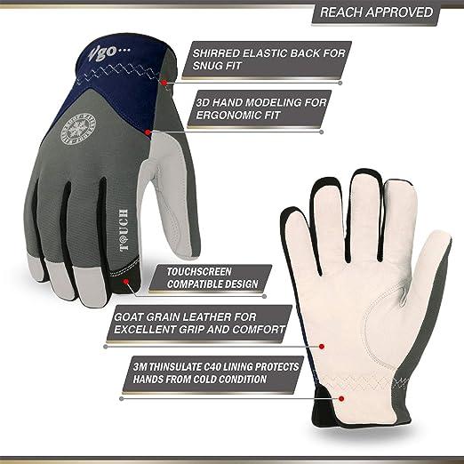Forro 3M 40C Multifuncional 1Par, 8//M, Gris//Azul, GA8977FW Vgo 0℃ o superior /3M Thinsulate C40 Guantes de Trabajo de Invierno Palma de Cuero de Cabra