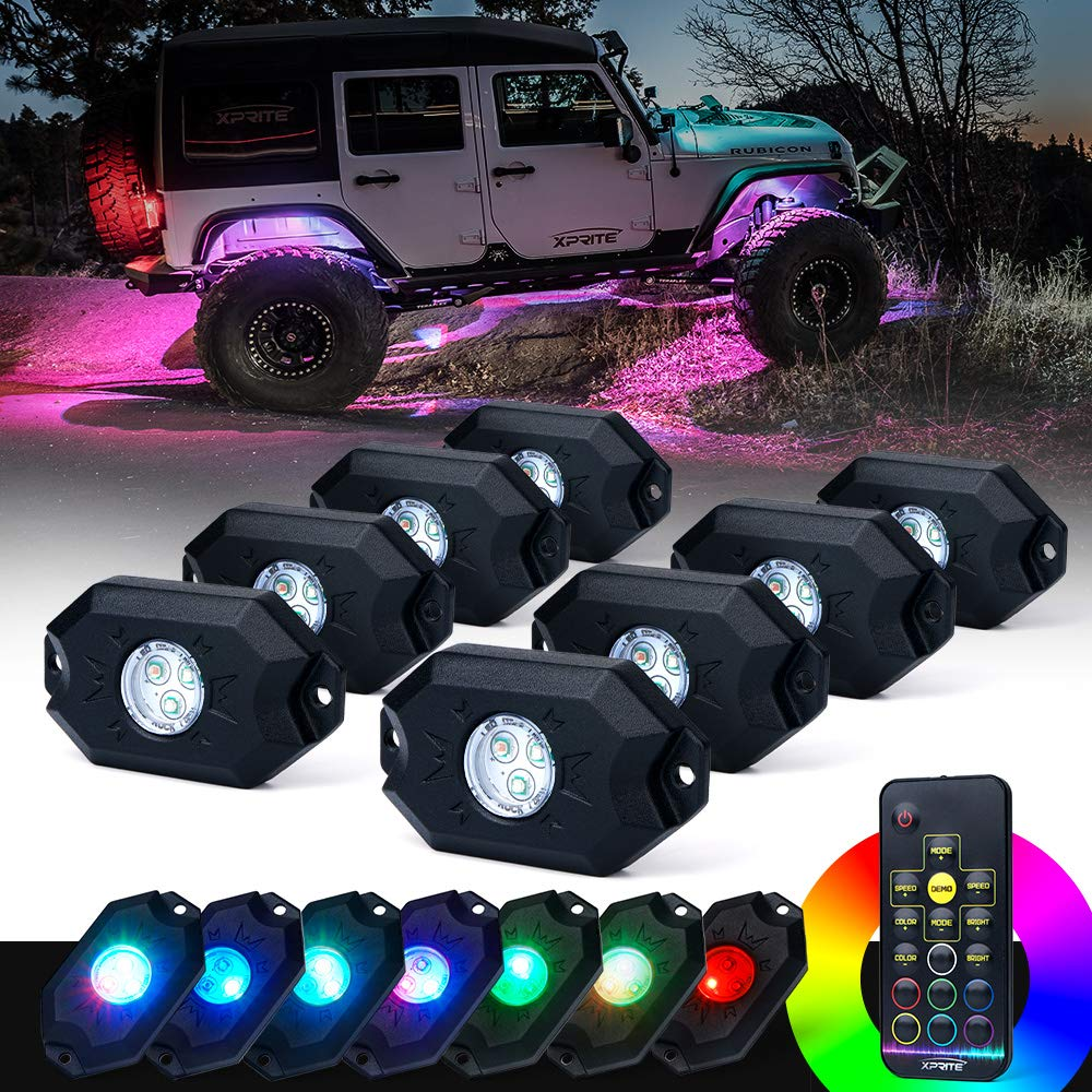 Xprite 8PCs LED RGB Rock Light Kit with Wireless Remote Control, Flashing, Auto Scroll Modes, Multicolor Neon Lights Pod for Underglow Off Road, Truck, JEEP, UTV, ATV, SUV