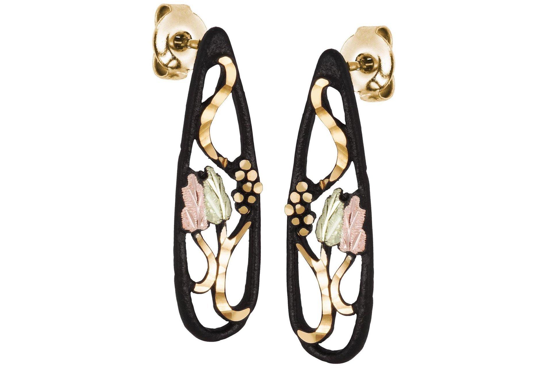 Black Hills Gold Black Powder Earrings