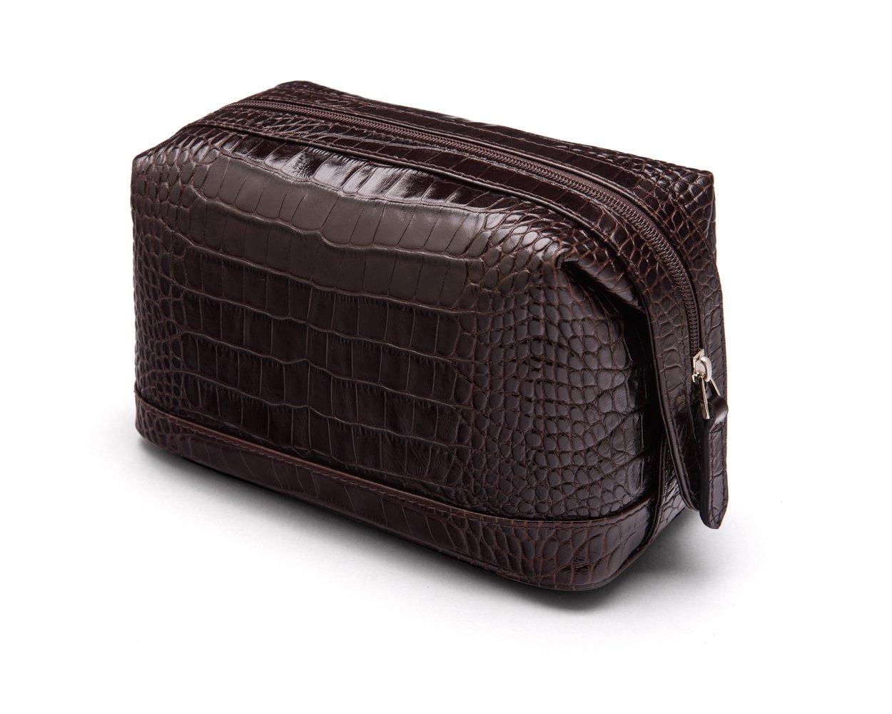 SAGEBROWN Brown Croc Compact Wash Bag